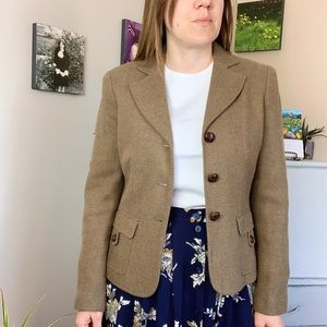Liz Claiborne Wool Blend Brown Tweed Blazer